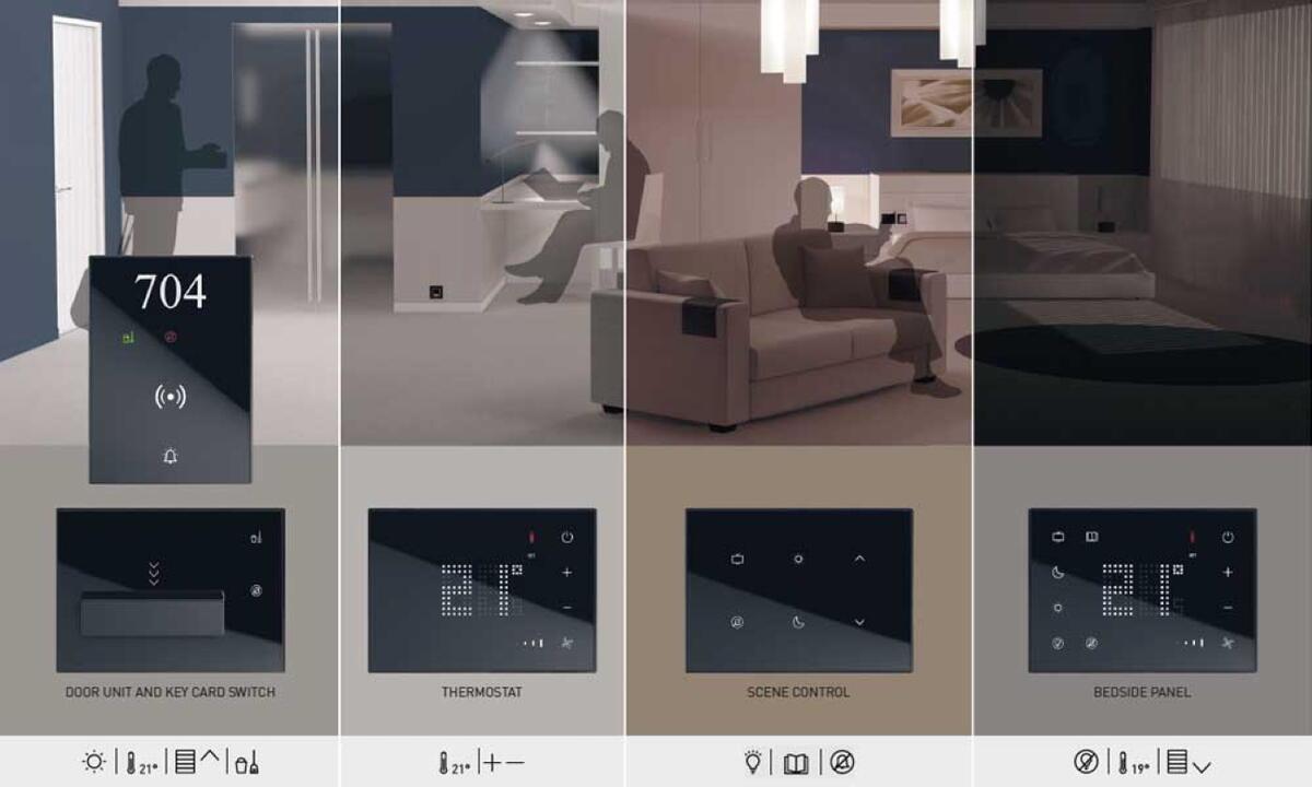 Hotelværelse styring af funktionerne adgangslås, termostat, lyskontakter